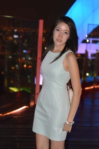 blue green dress on red sky bar